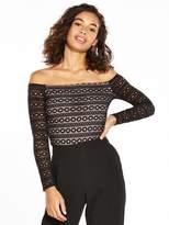 V by Very Petite Lace Bardot Bodysuit