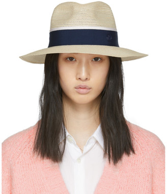 Maison Michel Beige and Navy Straw Henrietta Hat