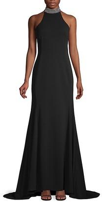 Calvin Klein Embellished Halter Gown