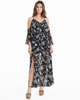 White House Black Market Cold-Shoulder Floral Maxi Dress