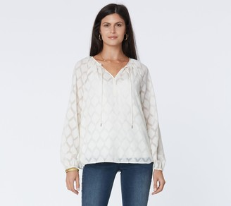 NYDJ Peasant Blouse with Camisole in Vanilla