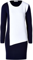 J.W.Anderson Merino Wool Blend Asymmetric Panel Dress in Navy/White