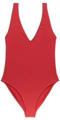 ASCENO Comporta Plunge-neck Swimsuit - Red