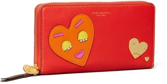 Tory Burch PERRY PATCHWORK HEARTS ZIP CONTINENTAL WALLET