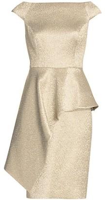 Teri Jon by Rickie Freeman Off-The-Shoulder Jacquard Peplum Sheath Dress