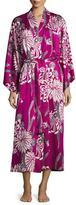 Natori Aziome Floral-Print Long Robe, Purple Pattern