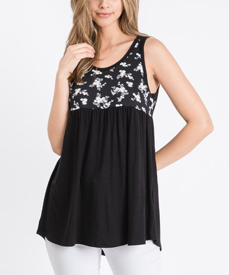 Cool Melon Women's Tank Tops Black - Black Floral Color Block Sleeveless Tunic - Women & Plus