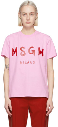 MSGM Pink Artist Logo T-Shirt
