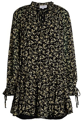 Cistar New York Floral Tie-Front Peasant Dress