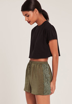 Missguided Khaki Lace Hem Hammered Satin Shorts