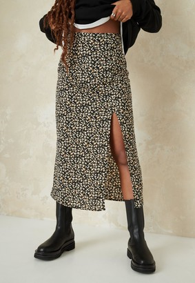 Missguided Black Ditsy Floral Print Side Split Skirt