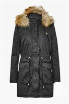French Connection Faux Leather Waxy Cotton Parka