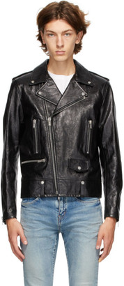 Saint Laurent Black Leather Classic Biker Jacket