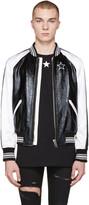 Givenchy Black Leather and Satin Bomber Jacket