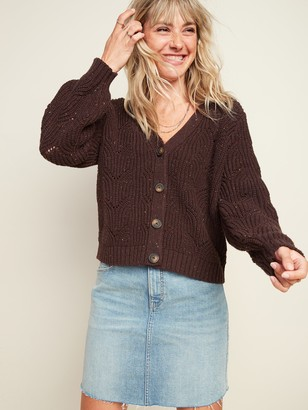 Old Navy Pointelle-Knit Button-Front Cardigan Sweater for Women