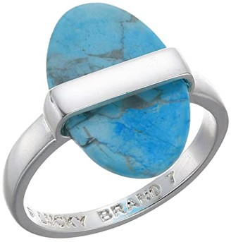 Lucky Brand Turquoise Wrapped Set Stone Ring (Silver) Ring