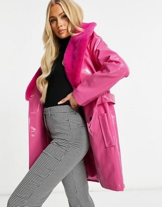 UNIQUE21 faux fur trim vinyl coat in fuschia