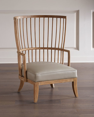 Global Views Spindle Leather Wing Chair