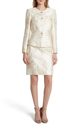 Tahari Metallic Jacquard Long Sleeve Two-Piece Dress