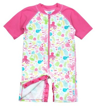 I Play Baby Girls One-Piece Sunsuit Rashguard Swimsuit, UPF 50+