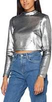 New Look Women's Matte Sequin High Neck T-Shirt,6