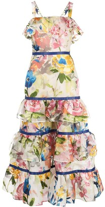 Marchesa Tiered Floral Print Dress