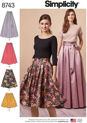 Simplicity Misses' Pleated Skirts Sewing Pattern, 8743
