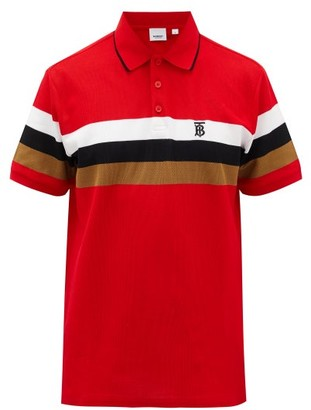 Burberry Treydon Striped Cotton-pique Polo Shirt - Red