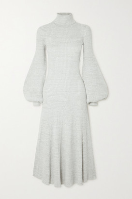 ANNA QUAN Amalia Ribbed Cotton Turtleneck Midi Dress - Gray