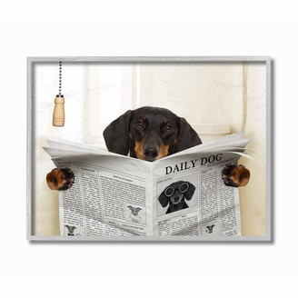 Stupell Industries Dog On Toilet Newspaper Funny Animal Pet Design Designed by in House Wall Art 11 x 1.5 x 14