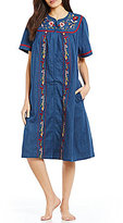 Go Softly Floral-Embroidered Denim Zip Patio Dress