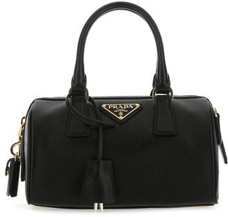 Prada Logo Plaque Saffiano Top Handle Bag