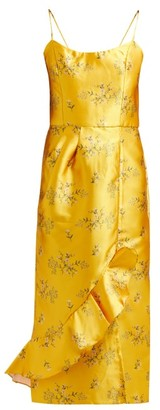 Johanna Ortiz Escape With Me Floral-print Satin Dress - Yellow