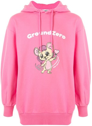 Ground Zero Logo Cartoon Print Hoodie