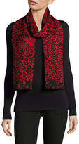 Marc Jacobs Leopard Print Wool-Blend Scarf