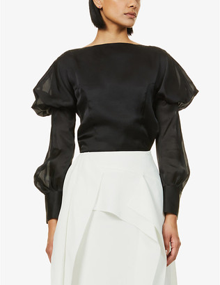 AKIRA NAKA Alex puffed-shoulder satin top