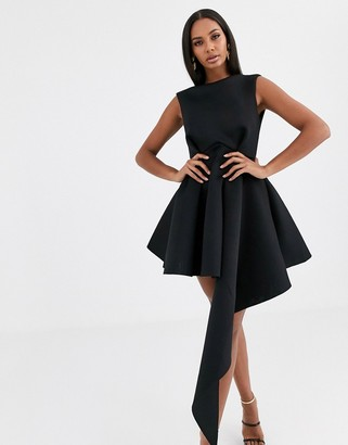 Asos Design DESIGN high neck mini skater dress with asymmetric hem-Black