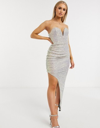 Club L London sequin plunge front bandeau asymmetric split dress in cream