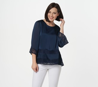 H by Halston Scoop-Neck 3/4-Sleeve Blouse with Lace Details
