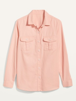 Old Navy Twill Utility-Pocket Tunic Camp Shirt for Women