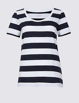 M&S Collection Pure Supima Cotton Striped T-Shirt