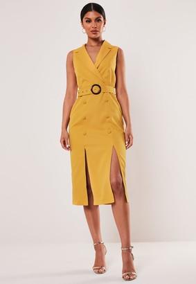 Missguided Mustard Sleeveless Belted Blazer Dress