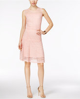 NY Collection Mixed-Lace Illusion Fit & Flare Dress