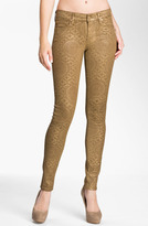 7 For All Mankind Coated Print Skinny Jeans (Gold Artisan)