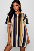 boohoo Tonal Stripe Short Sleeved Shift Dress