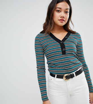 New Look Stripe Button Rib Top-Green