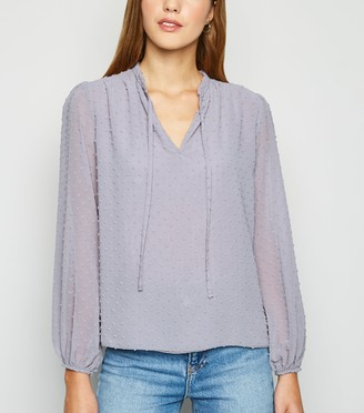 New Look Chiffon Spot Frill Neck Blouse