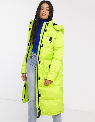 Asos Design DESIGN neon padded jacket with tech trims-Green