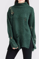 Lush High Neck Distressed Sweater