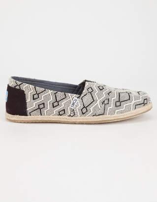 Toms Black Diamond Jacquard Rope Sole Womens Classic Slip-On Shoes
